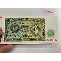 Tờ tiền mệnh giá 3 Leva Bulgaria thời cộng sản - tặng phơi nylon bảo quản tiền
