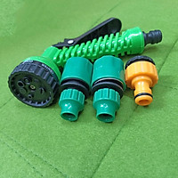 Bộ phụ kiện tưới cây, Rửa xe 4 món V8N-4081, Bộ vòi tưới cây 7 trong 1 dùng cho dây 8-11mm