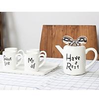 Bộ ấm tách trà gốm sứ Have a Rest nắp nơ tráng gương cao cấp 6 món