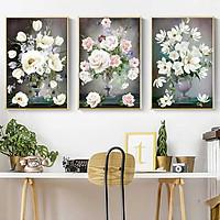 Set 3 tranh canvas bộ ba bình hoa cổ điển HO0181 - Không có khung