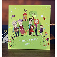 Album ảnh Happy family story họa tiết vintage 660 ảnh - Xanh nõn
