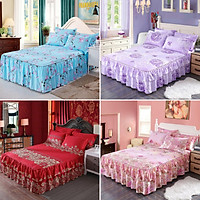 Flower Bed Skirt Bed Fitting Bed Sheet Family Hotel Double 4 Kinds Of Patterns Pillowcase Suitable For Bed Cover
