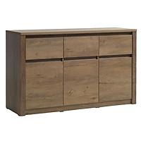 Tủ chén đĩa JYSK Vedde 3 cánh 3 ngăn kéo gỗ công nghiệp màu sồi 130x79x43cm