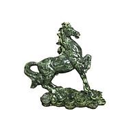 Tượng Đá Trang Trí Con Ngựa Phong Thủy - Cao 24cm - Màu Xanh Ngọc Bích