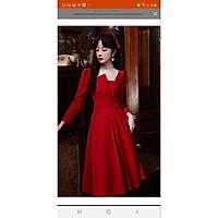 Váy Thiết Kế Dáng Suông Dài, Váy tay dài cô vuông lệch sang chảnh - H&N Store