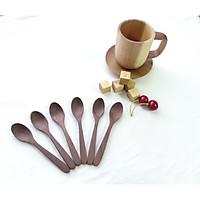 Bộ 6 thìa. muỗng uống cafe, sinh tố gỗ óc chó màu nâu 13.5 cm x 2.5 cm (TG43)