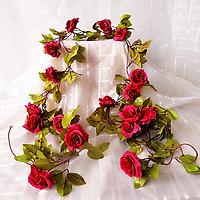 Hoa giả, dây hoa hồng leo trang trí nhà cửa, quán cà phê đẹp (tặng 05 dây thít nhựa xanh)