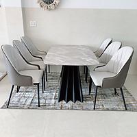 Bộ bàn ăn mặt đá cẩm thạch và 6 ghế monet BBA-38