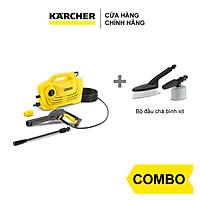 Combo Máy phun rửa áp lực cao Karcher K 2 Classic và Bộ đầu chà, bình xịt
