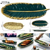 1 Đĩa lá sứ viền vàng , màu xanh cổ vịt cho phông phú bộ bát ăn trong gia đình bạn thích hợp dùng trong các bữa ăn gia đình , nhà hàng và các bữa tiệc