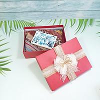 Combo hộp quà tặng đẹp 23x17x7cm tặng thiệp + giấy rơm lót + túi quà - HQ01