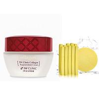Kem Chống Lão Hóa Dưỡng Trắng Da Hàn Quốc Cao Cấp 3W Clinic Collagen Regeneration Cream (60ml)+ Tặng Bông Bọt Biển Massage Mặt Cao Cấp Hàn Quốc Mira (6 miếng/bịch) – Hàng Chính Hãng
