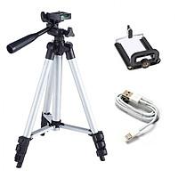 Chân đỡ máy ảnh, điện thoại chụp hình quay phim kèm kẹp điện thoại - tặng cáp sạc Iphone