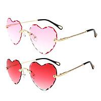2 Pieces Fashion Women's Heart Frame Rimless Sunglasses Tinted Lens Eyewear