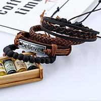 4PCS Leather Mens Bracelets Multilayer Rope BELIEVE Bracelet Braided Jewelry