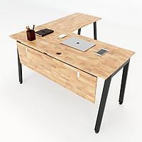 Bàn làm việc chữ L 140x140 Aton Concept gỗ cao su chân sắt lắp ráp