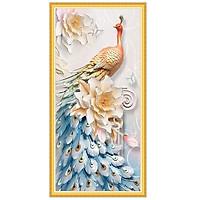 Decal chim công bên hoa mẫu đơn trang trí tường LV-0233