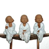 BỘ TƯỢNG 3 CHÚ TIỂU NGỒI AN NHIÊN TỰ TẠI gốm tráng men rạn