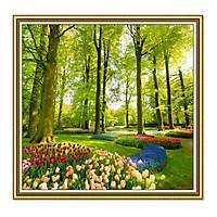 Decal dán tường khung tranh cảnh vườn hoa đẹp TN0037KV
