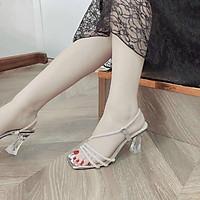 Giày Sandal  Dây Đan Quai Ngọc Gót Pha Lê Siêu  Xinh Kèm Túi Thơm Để Tủ