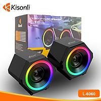 Loa vi tính Kisonli 2.0 LED L-6060.HN thiết kế mạnh mẽ cá tính - Hàng Nhập Khẩu