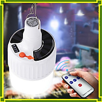 Đèn LED tích điện năng lượng mặt trời 100w, có thể sạc bằng điện gia đình (2 pin 18650, loại bóng to 17.3 x 10.5, có điều khiển)