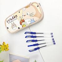 Combo Hộp Bút Totoro Xinh Xắn Và 5 Bút Bi Văn Phòng Tiện Lợi - màu kem