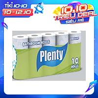 Combo 10 cuộn Giấy vệ sinh PLENTY, 2 Lớp, 215 Tờ/cuộn