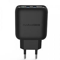 Củ sạc điện thoại Marakoko MA30, 2 cổng sạc ra USB Smart Charge-Hàng Chính Hãng