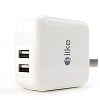 Củ sạc iLike AK517 ( 2V-2.1A ) 2 cổng ra USB - Hàng Chính Hãng