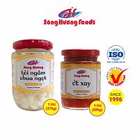 Combo 1 Hũ Tỏi Ngâm Chua Ngọt 370g + 1 Hũ Ớt Tươi Xay 200g Sông Hương Foods