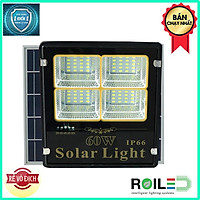 Đèn pha năng lượng mặt trời 60W giá rẻ chính hãng Roiled 4 ô led sáng trên 12h RP4-60W