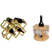 Combo Kệ Rượu Xếp 10 Chai + Kệ Ly và Chai Rượu Gỗ Đức Thành