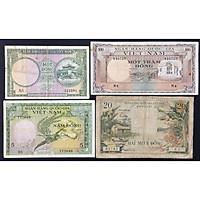 Bộ 4 Tờ Tiền Xưa Việt Nam 1đ, 5đ, 20đ, 100đ Năm 1955 Lần II [Tiền Cổ Xưa Sưu Tầm]