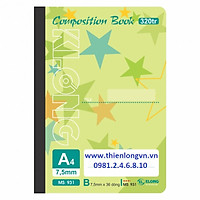 Sổ may dán gáy A4 - 320 trang; Klong 931 xanh lá