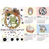 Lịch treo tường totoro size A4 13 tờ dễ thương 2020 anime chibi trang trí trưng bày tặng thẻ Vcone
