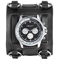 Avaner Mens Retro Steampunk Rock Black Wide Leather Bracelet Cuff Watches Big Face Round Dial Analog Quartz Sport Watch [Upgraded] Japanese Quartz Movement Watch