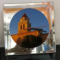 Đồng hồ thủy tinh vuông 20x20 in hình Church - nhà thờ (77) . Đồng hồ thủy tinh để bàn trang trí đẹp chủ đề tôn giáo