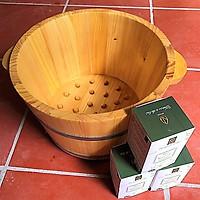 COMBO 1 chậu ngâm chân gỗ thông hạt + 1 Muối ngâm chân sinh dược
