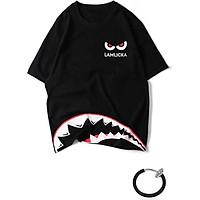 Combo Áo thun unisex tay lỡ nam nữ cá mập màu đen in chữ và khuyên tai đeo môi, mắt, tai, mũi không cần xỏ màu trắng TX387KT999