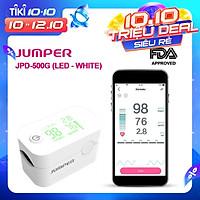 Máy đo nồng độ oxy máu SpO2, PR, PI Jumper JPD-500G (FDA Hoa Kỳ + xuất USA), Kết nối Bluetooth APP mobile, màn hình LED - Phiên bản màu Trắng