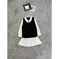 váy suông nữ, đầm suông đuôi cá dài tay cổ sen phối sơ mi đen trắng xinh xắn