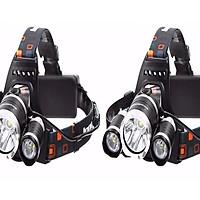 Bộ 2 chiếc đèn pin T6 đội đầu có 3 bóng dùng pin sạc