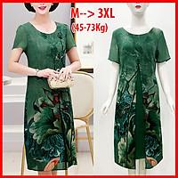 Đầm Suông Size Lớn Kiểu Đầm Cho Mẹ Trung Niên Xẻ Tà In Hoa Cam - THỜI TRANG TRUNG NIÊN ROMI 3288 - XANH HOA SEN - 3270 - M 48-53KG