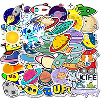 Sticker 50 miếng hình dán Planet Space