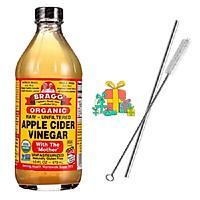 [Tặng ống hút inox] Dấm táo Bragg Organic bổ sung lợi khuẩn