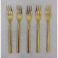 Sét 5 Nĩa Bánh Cán Trơn 3 Răng Cao Cấp Mạ Vàng 15.5cm