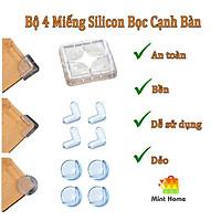 4 miếng bịt góc bàn kính bảo vệ cho bé, miếng bọc góc bàn an toàn cho bé, miếng bọc cạnh bàn silicon