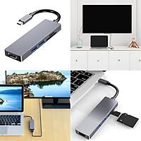 USB-C Hub 5-Port with 2xUSB3.0, 1xHDMI(4k), 1xSD Card Slot,  1xTF Card Slot Aluminiun Case for Mac Macbook Chromebook XPS Surface Pro
