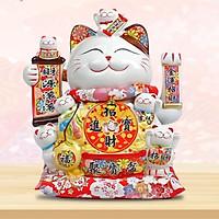 Mèo thần tài, mèo may mắn 26cm Phú Quý Lâm Môn vẫy tay
